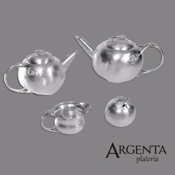 980 Grated Silver Tea Set -...